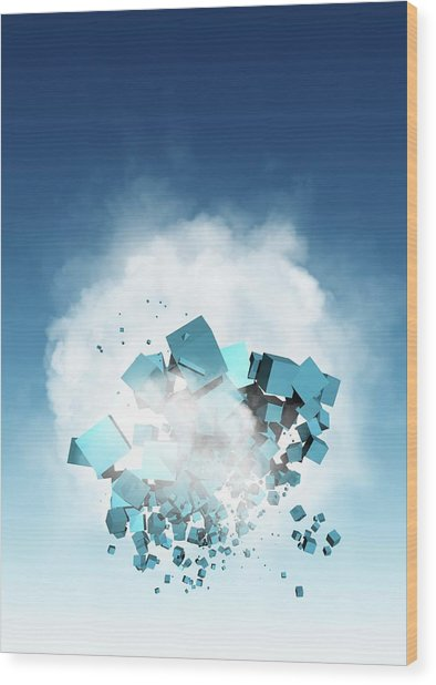 Cloud Computing, Conceptual Artwork Wood Print by Victor Habbick Visions