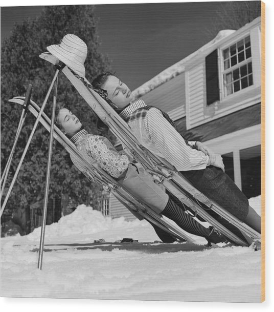 New England Skiing Wood Print