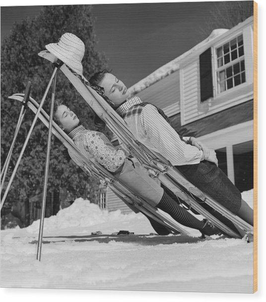 New England Skiing Wood Print