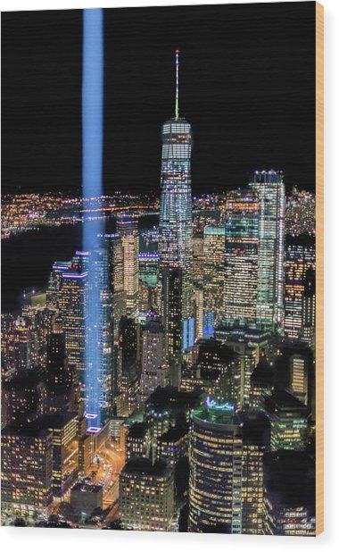 911 Lights Wood Print