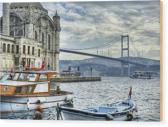 A Beautiful View Of Ortakoy Mosque And Wood Print by Senai Aksoy