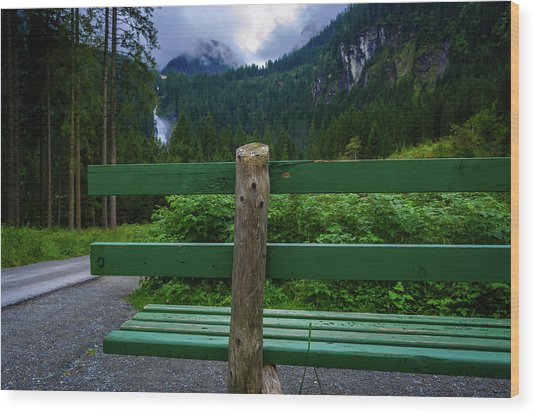 A Bench In The Woods Wood Print