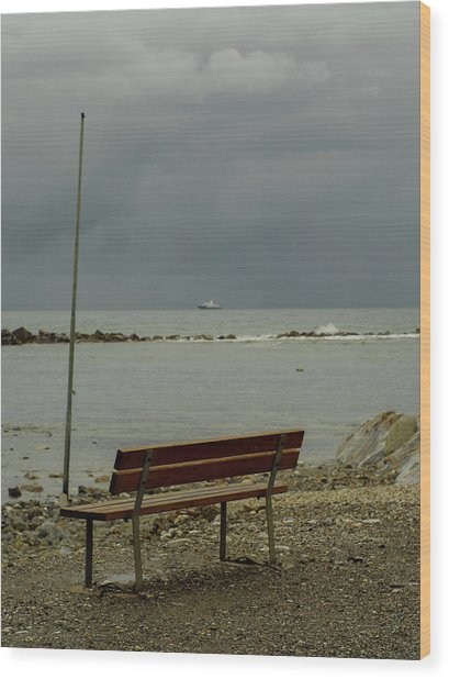 A Bench On Which To Expect, By The Sea Wood Print