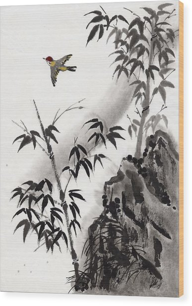 A Bird And Bamboo Leaves, Ink Painting Wood Print