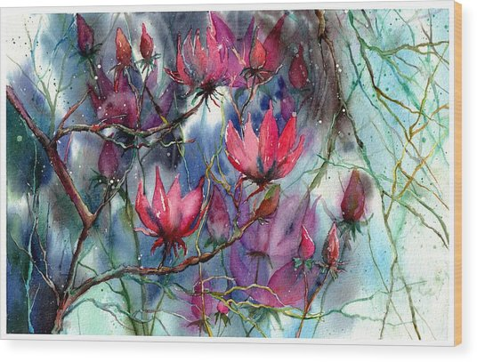 A Blooming Magnolia Wood Print