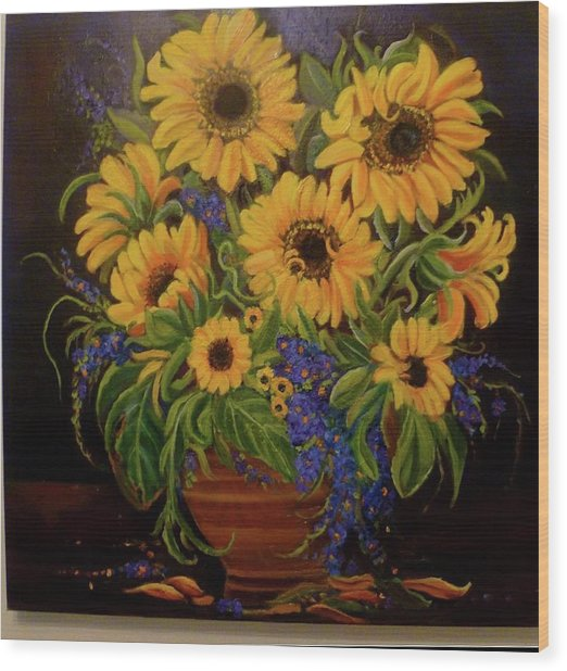 A Bouquet Of Sunflowers Wood Print by Janet Silkoff