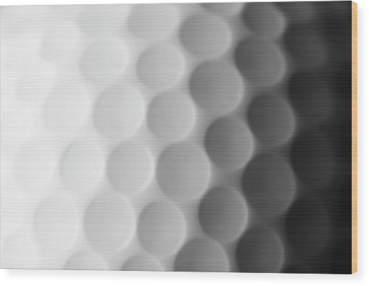 A Close Up Shot Of A Golf Ball, White Wood Print
