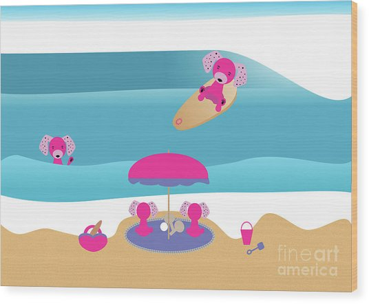 A Dog Family Surf Day Out Wood Print