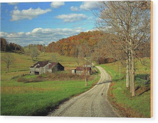 Wood Print featuring the photograph A Farm On An Autumn Day by Angela Murdock