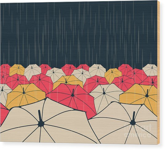 A Field Of Umbrellas Under The Rain, In Wood Print