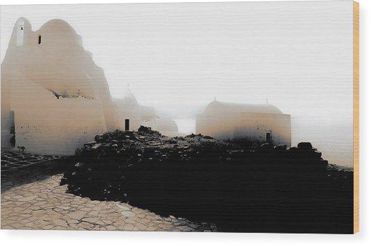 A Foggy Day In Mykonos Wood Print
