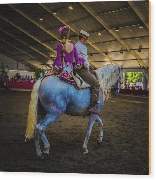 A Girl, A Boy And A Horse Wood Print