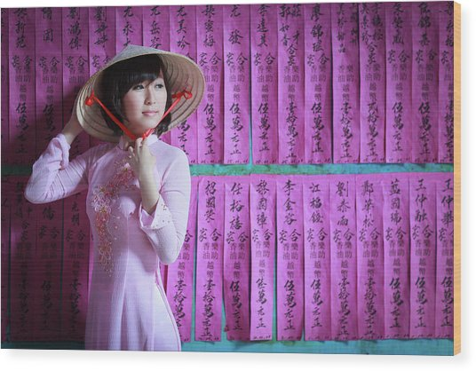 A Girl In A Pink Ao Dai And A Non La Wood Print by Jethuynh
