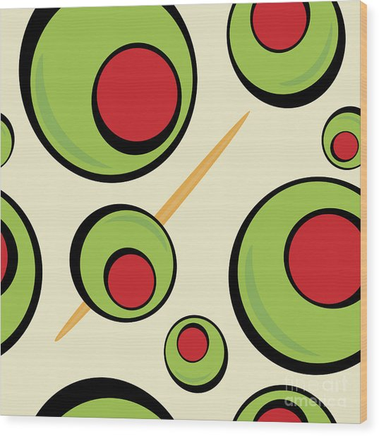 A Green Olives Pattern That Tiles Wood Print