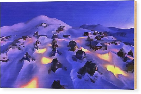 A Greenland Village View Wood Print