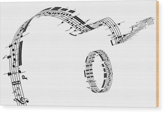 A Guitar Made Of Music Notes Wood Print by Ian Mckinnell