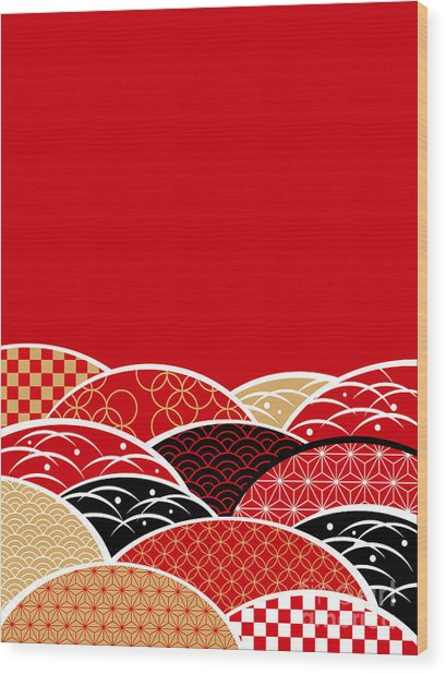 A Japanese Style Background Of Japan Wood Print by Rie Sakae