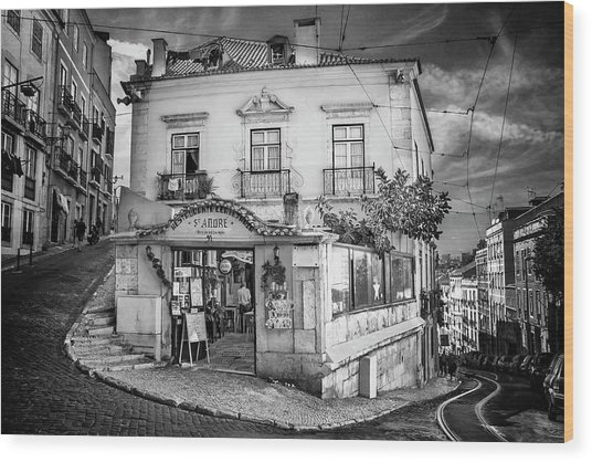 A Little Corner Of Lisbon Portugal In Black And White Wood Print