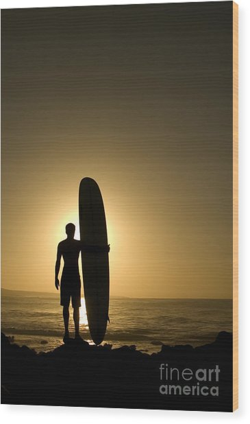 A Longboarder Watching He Waves At Wood Print