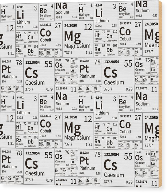 A Lot Of Chemical Elements From Wood Print