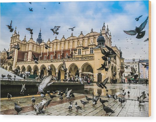 A Lot Of Doves In Krakow Old City Wood Print