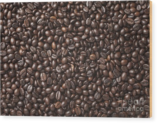 A Lot Of Roasted Coffee Beans Which Wood Print