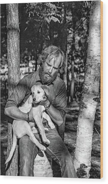 A Man And His Dog 2 Bw Wood Print