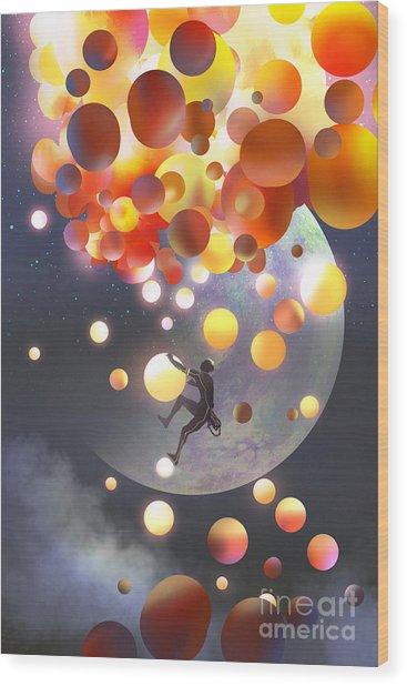 A Man Climbing Fantasy Balloons Against Wood Print