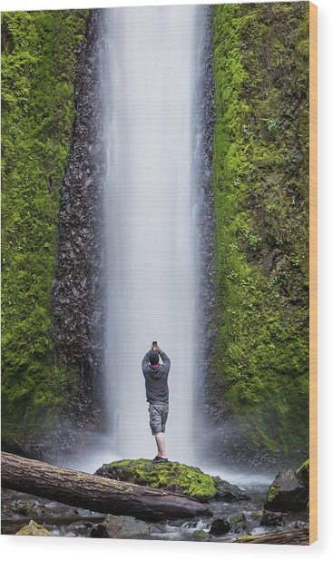 A Man Photographing A Waterfall Wood Print