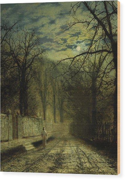 A Moonlit Street, 1880 Wood Print