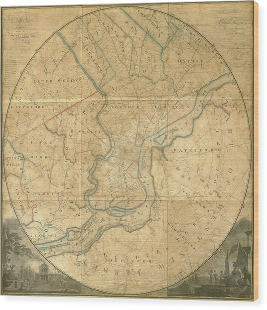 A Plan Of The City Of Philadelphia And Environs, 1808-1811 Wood Print