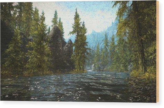 A River Flows Thru It Wood Print