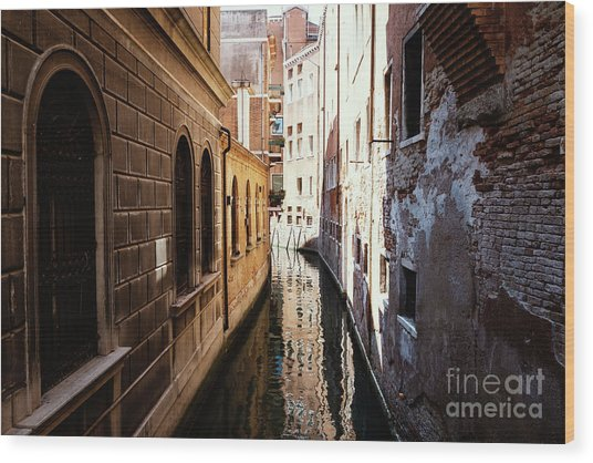 A Shadow In The Venetian Noon Narrow Canal Wood Print