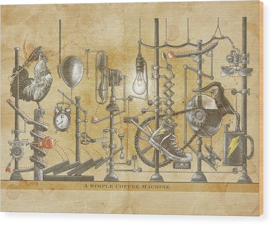 Wood Print featuring the drawing A Simple Coffee Machine by Clint Hansen