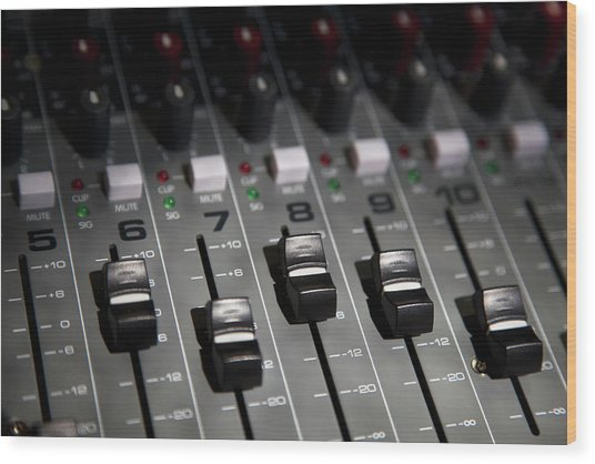 A Sound Mixing Board, Close-up, Full Wood Print by Tobias Titz