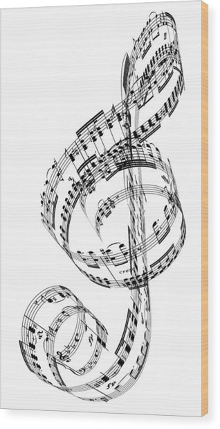 A Treble Clef Made From Beethovens Wood Print by Ian Mckinnell