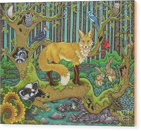 A Vixen In The Forest Wood Print