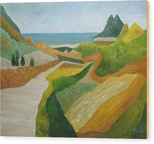 A Walk Down To The Sea Wood Print
