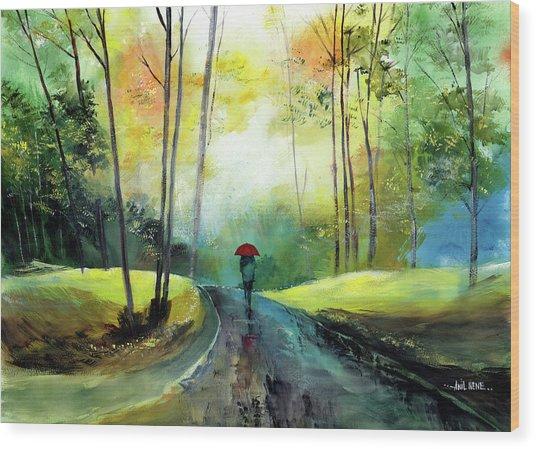 A Walk In The Rain Wood Print
