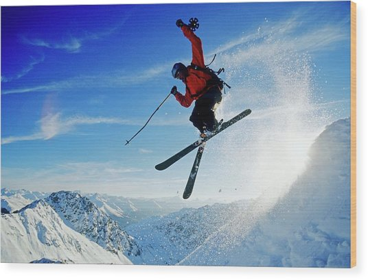 A Young Skier, A Freerider Jumping Over Wood Print