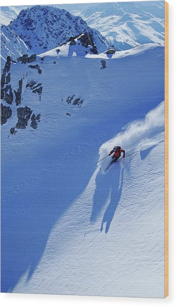 A Young Skier, A Freerider Skiing In Wood Print
