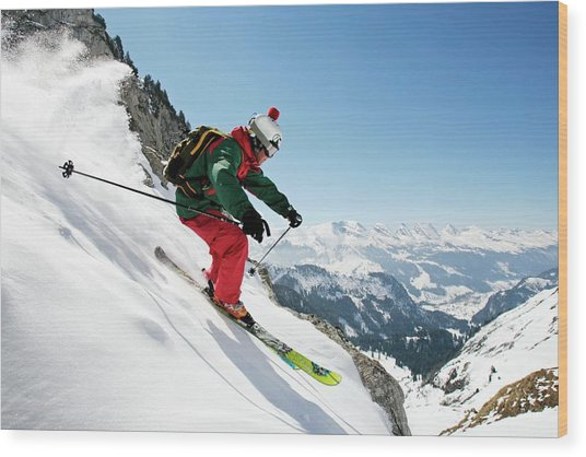 A Young Skier, A Freerider Skis Down A Wood Print