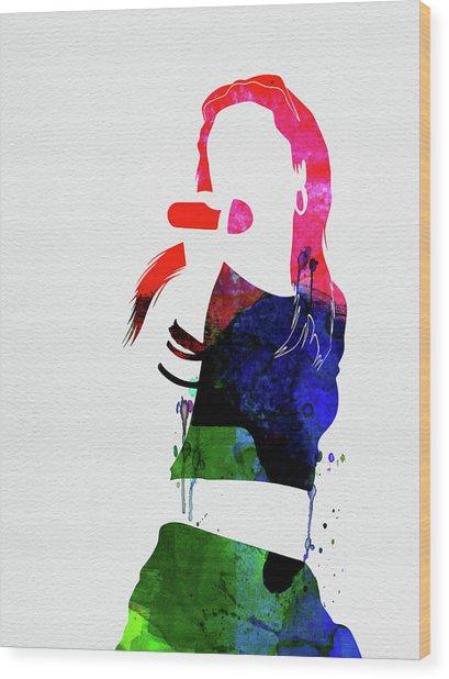 Aaliyah Watercolor Wood Print