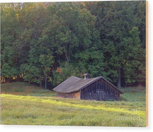 Abandoned Hay Barn At Sunrise Wood Print
