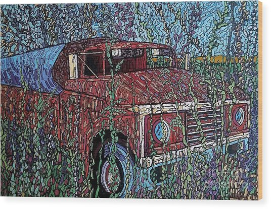 Abandoned Oil Truck  Wood Print
