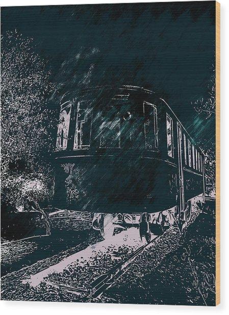 Abandoned Train Wood Print