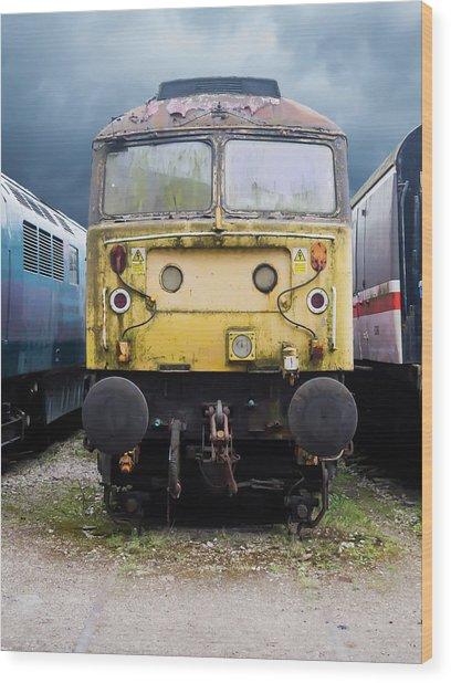 Abandoned Yellow Train Wood Print