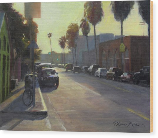 Abbot Kinney Sunset Wood Print