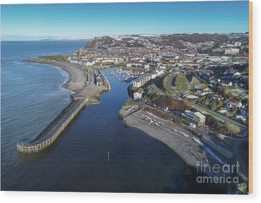 Aberystwyth Harbour From The Air In Winter Wood Print