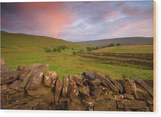 Above Kettlewell After Sunset Wood Print by Pixelda Picture License